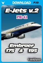 Embraer E-Jets v2 Embraer 175 and 195 (P3D v4.1)